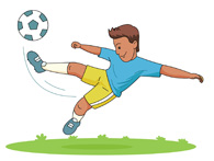 soccer player kicking the ball clipart
